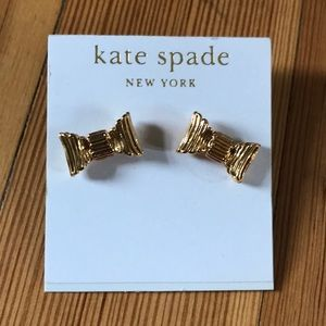NWT kate spade 14K gold bow earrings